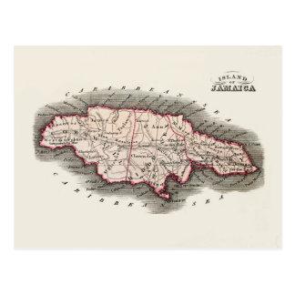 Mapa del vintage de Jamaica Tarjeta Postal