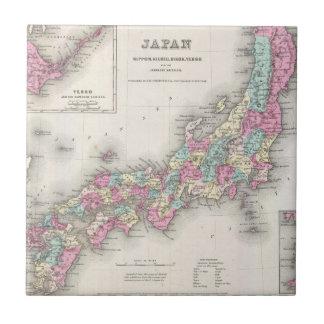 Mapa del vintage de Japón (1855) Azulejo