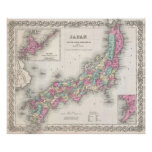 Mapa del vintage de Japón (1855) Impresiones