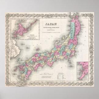 Mapa del vintage de Japón (1855) Póster
