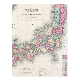 Mapa del vintage de Japón (1855) Postal