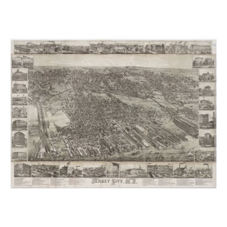 Mapa del vintage de Jersey City NJ (1883) Póster