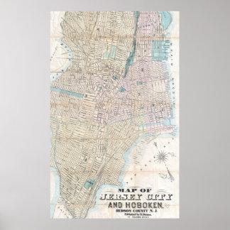 Mapa del vintage de Jersey City y de Hoboken Póster