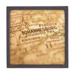 Mapa del vintage de JOHANNESBURG Caja De Joyas De Calidad