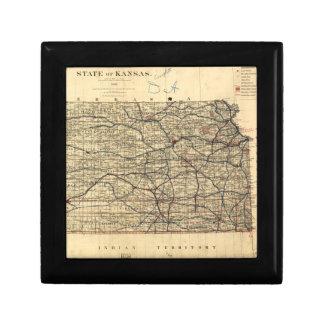 Mapa del vintage de Kansas (1884) Cajas De Joyas