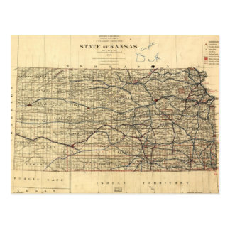Mapa del vintage de Kansas (1884) Postal