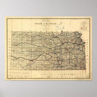 Mapa del vintage de Kansas (1884) Póster