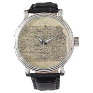 Mapa del vintage de Kansas (1884) Reloj De Mano