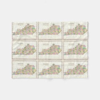 Mapa del vintage de Kentucky (1827) Manta De Forro Polar