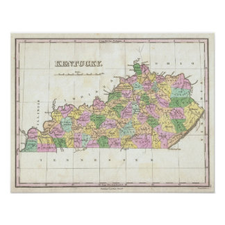 Mapa del vintage de Kentucky 1827 Poster