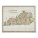 Mapa del vintage de Kentucky (1827) Poster