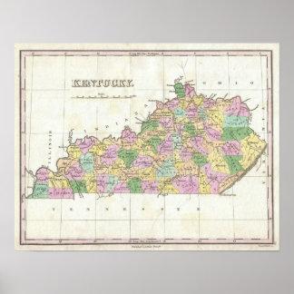 Mapa del vintage de Kentucky (1827) Póster