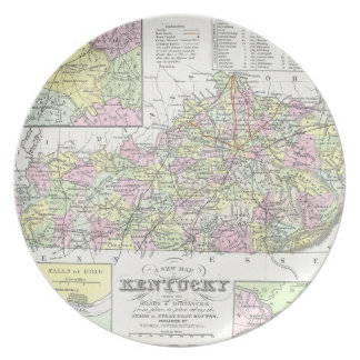 Mapa del vintage de Kentucky (1850) Plato Para Fiesta