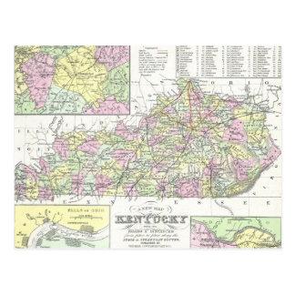 Mapa del vintage de Kentucky (1850) Postal