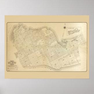 Mapa del vintage de Key West la Florida Póster