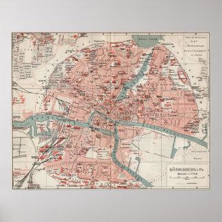 Mapa del vintage de Königsberg Alemania (1905) Póster