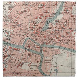 Mapa del vintage de Königsberg Alemania (1905) Servilleta