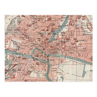 Mapa del vintage de Königsberg Alemania (1905) Tarjeta Postal