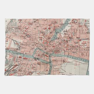 Mapa del vintage de Königsberg Alemania (1905) Toallas De Cocina