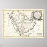 Mapa del vintage de la Arabia Saudita (1771) Poster