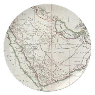 Mapa del vintage de la Arabia Saudita (1771) Platos Para Fiestas