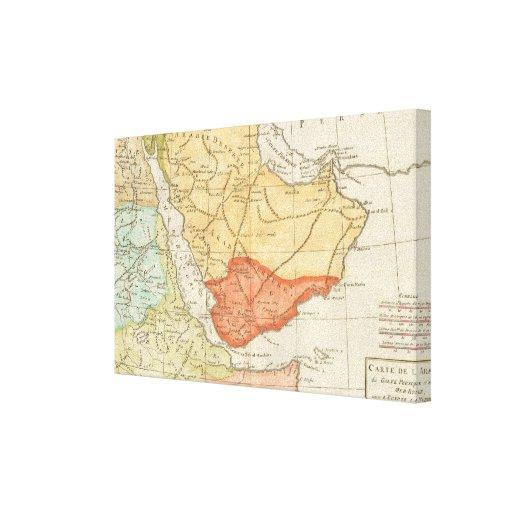 Mapa del vintage de la Arabia Saudita (1780) Lona Envuelta Para Galerias