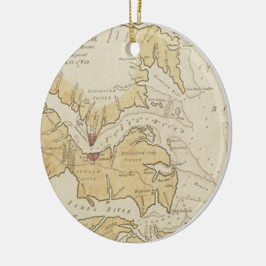 Mapa del vintage de la bahía de Chesapeake (1781) Adorno Navideño Redondo De Cerámica