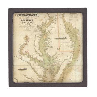 Mapa del vintage de la bahía de Chesapeake (1840) Cajas De Recuerdo De Calidad