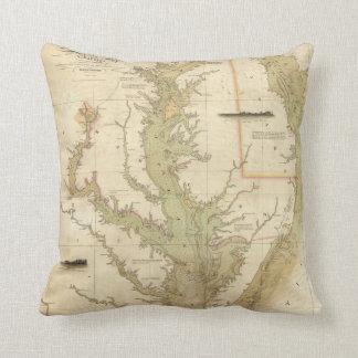 Mapa del vintage de la bahía de Chesapeake (1840) Cojin