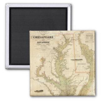 Mapa del vintage de la bahía de Chesapeake (1840) Imán Cuadrado