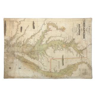 Mapa del vintage de la bahía de Chesapeake (1840) Manteles Individuales