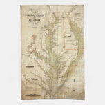 Mapa del vintage de la bahía de Chesapeake (1840) Toalla De Cocina