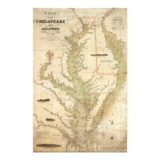 Mapa del vintage de la bahía de Chesapeake (1840) Papelería De Diseño