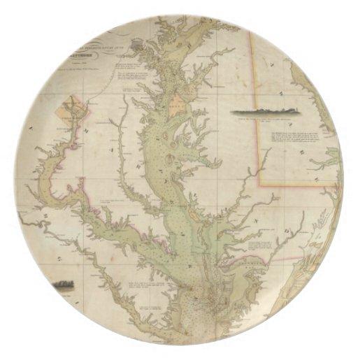 Mapa del vintage de la bahía de Chesapeake (1840) Plato