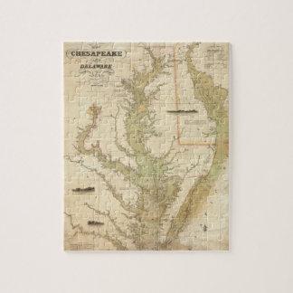 Mapa del vintage de la bahía de Chesapeake (1840) Rompecabeza Con Fotos