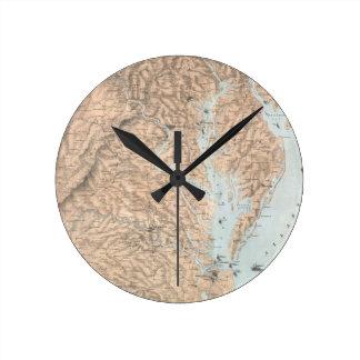 Mapa del vintage de la bahía de Chesapeake (1861) Reloj Redondo Mediano