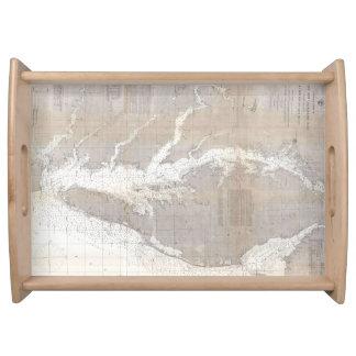 Mapa del vintage de la bahía de Chesapeake (1866) Bandeja
