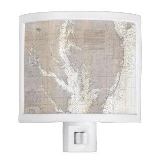 Mapa del vintage de la bahía de Chesapeake (1866) Luz De Noche