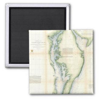 Mapa del vintage de la bahía de Chesapeake Imán Cuadrado