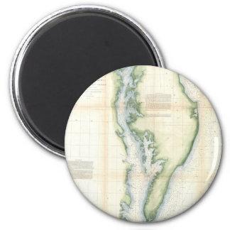 Mapa del vintage de la bahía de Chesapeake Imán Redondo 5 Cm