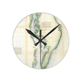 Mapa del vintage de la bahía de Chesapeake Reloj Redondo Mediano