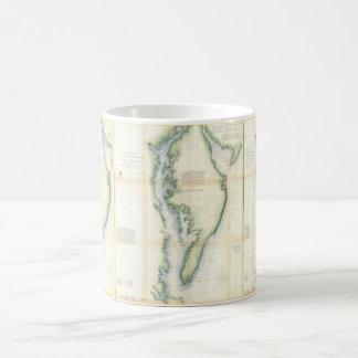 Mapa del vintage de la bahía de Chesapeake Taza Básica Blanca