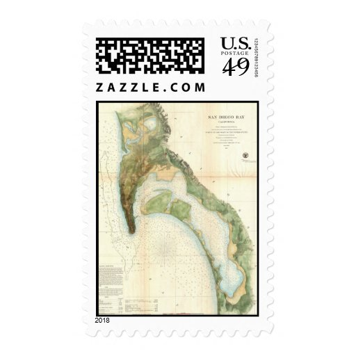 Mapa del vintage de la bahía de San Diego (1857) Estampillas