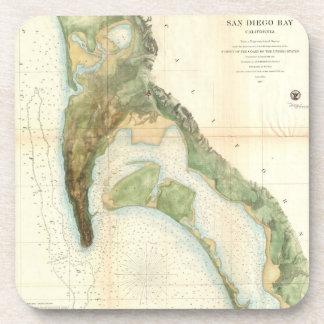 Mapa del vintage de la bahía de San Diego (1857) Posavasos De Bebidas