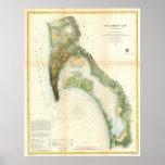 Mapa del vintage de la bahía de San Diego (1857) Póster