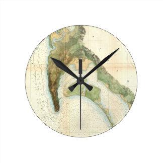 Mapa del vintage de la bahía de San Diego (1857) Reloj