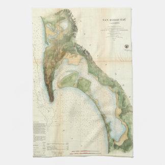 Mapa del vintage de la bahía de San Diego (1857) Toalla De Mano