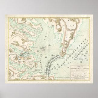 Mapa del vintage de la batalla de Yorktown (1781) Póster