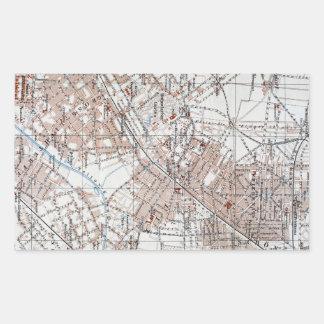 Mapa del vintage de la Berlín Alemania Suburbs Rectangular Pegatinas