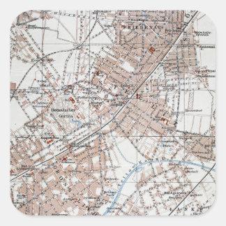 Mapa del vintage de la Berlín Alemania Suburbs Colcomanias Cuadradas Personalizadas
